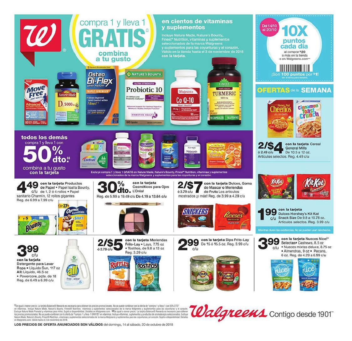 Shopper de Walgreens 14 de Octubre al 20 de Octubre de 2018