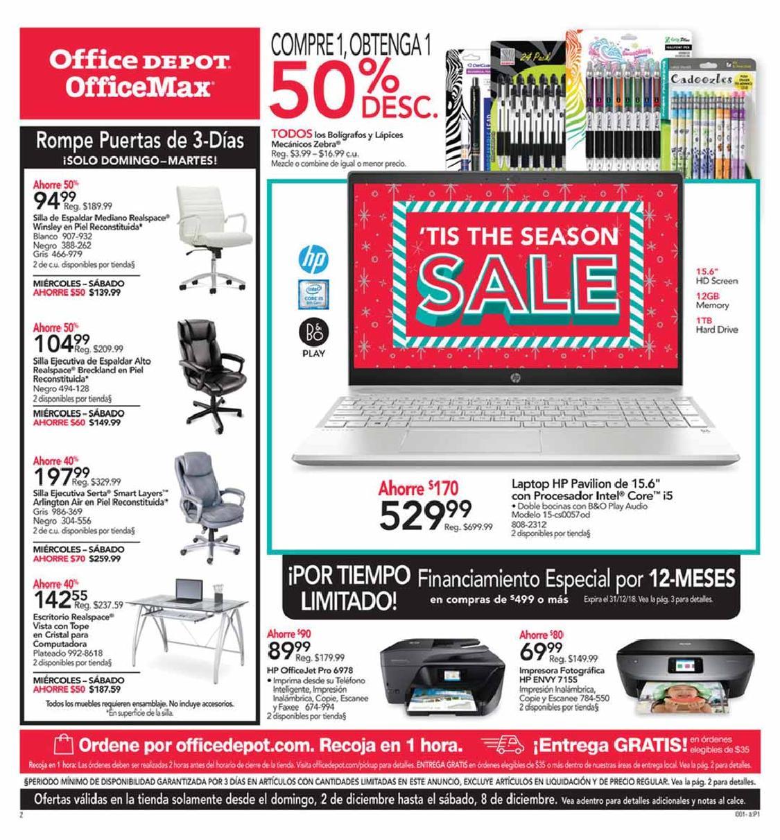 Shopper Office Depot | Office Max 2 de Diciembre al 8 Diciembre de 2018