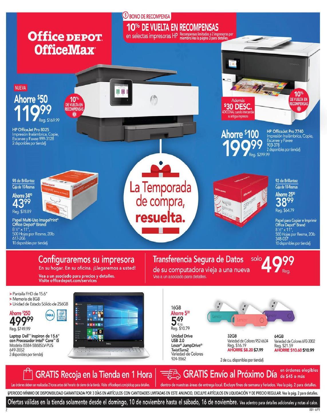 Shopper Office Depot   Office Max 10 de Noviembre al 16 de Noviembre de 2019