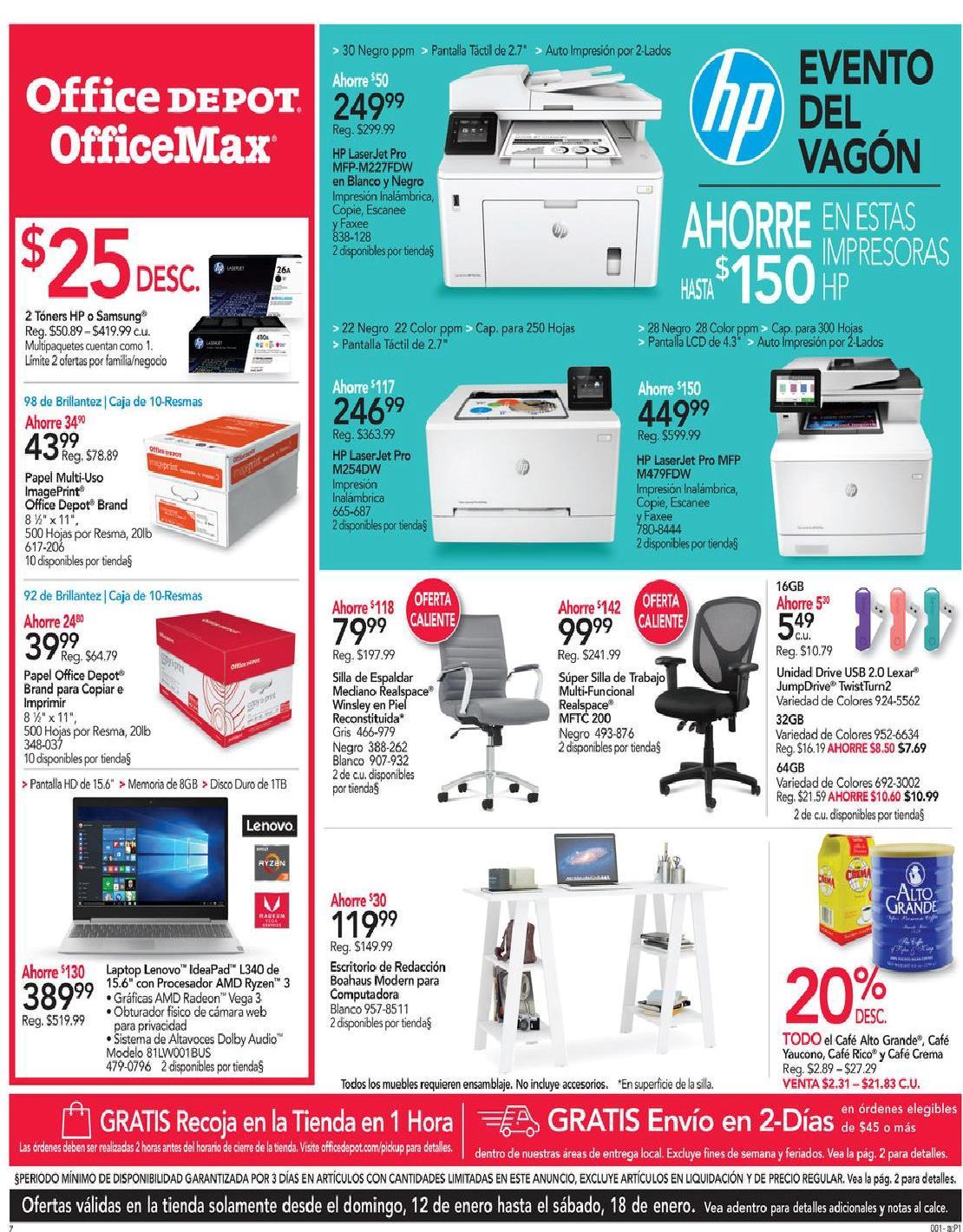 Shopper Office Depot | Office Max 12 de Enero al 18 de Enero de 2020
