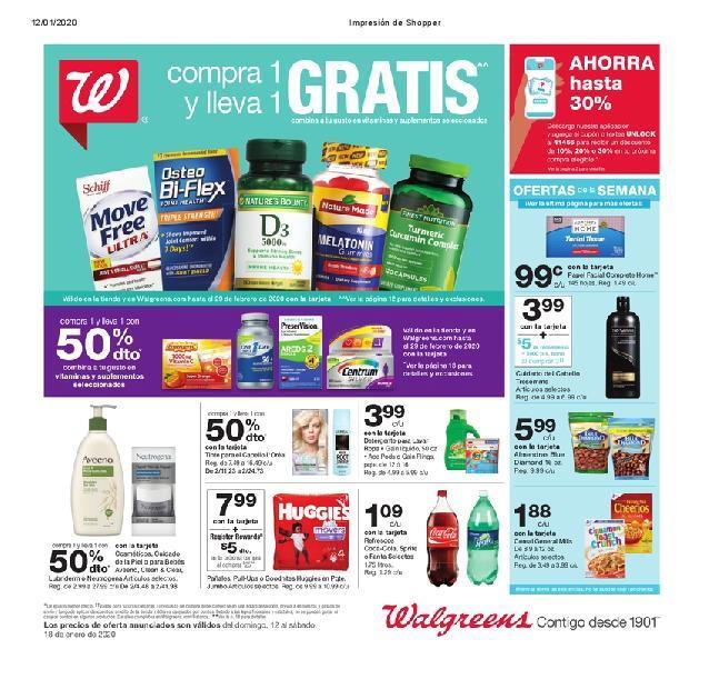 Shopper de Walgreens 12 de Enero al 18 de Enero de 2020