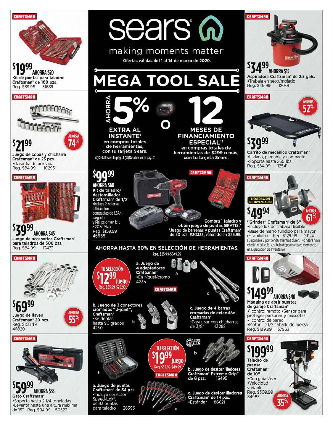 Shopper Sears 1 de Marzo al 14 de Marzo de 2020