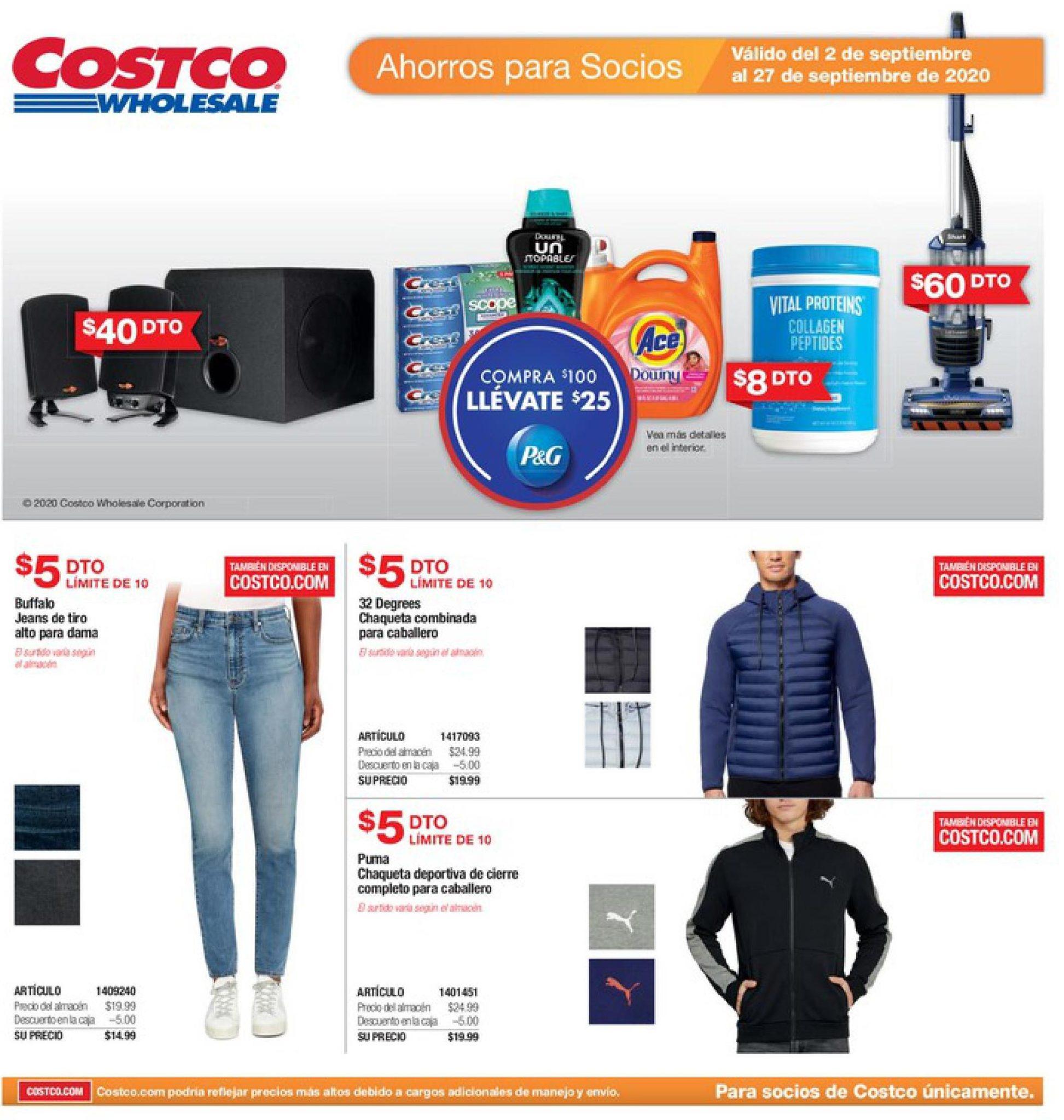 Shopper Costco 2 de Septiembre al 27 de Septiembre de 2020