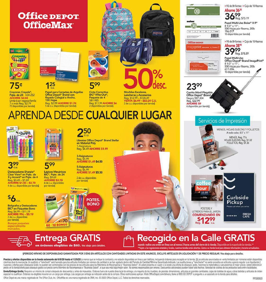 Shopper Office Depot | Office Max 6 de Septiembre al 12 de Septiembre de 2020
